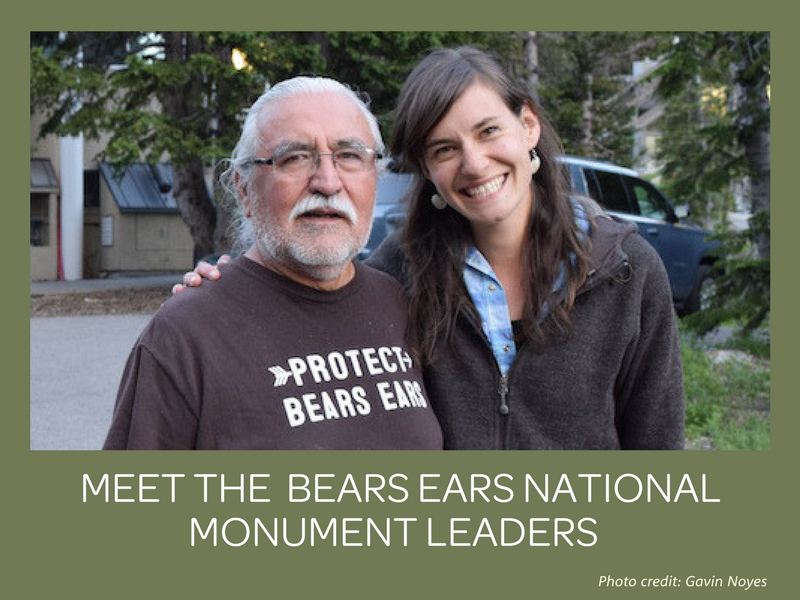 "Anna Elza Brady with Willie Grayeyes, Board Chairman of Utah Diné Bikéyah. Mr. Grayeyes has been a leading visionary of the Bears Ears initiative for many years. When Anna first began working with UDB in 2015, Willie wisely advised her, ""Don't be afraid to say it's spiritual."" (Photo by Gavin Noyes)"