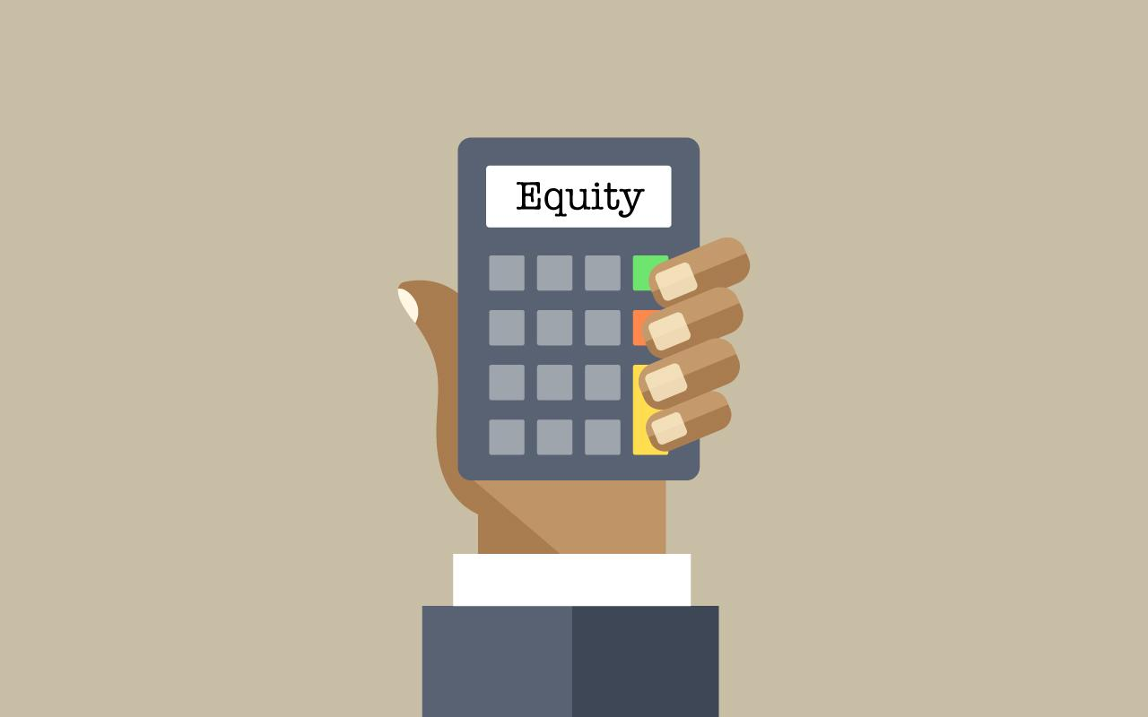 "Photo caption: A calculator in the palm of a business person's hand reads ""Equity."""