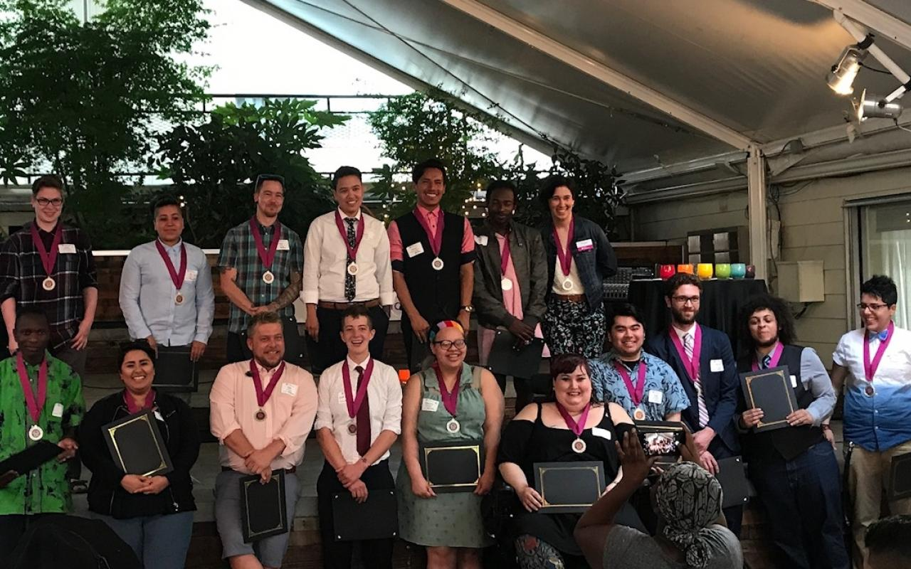 Pride Foundation's 2017 Oregon scholarship recipients, receiving their scholarship awards and being honored for their leadership at the 2017 Scholarship Celebration in Portland.