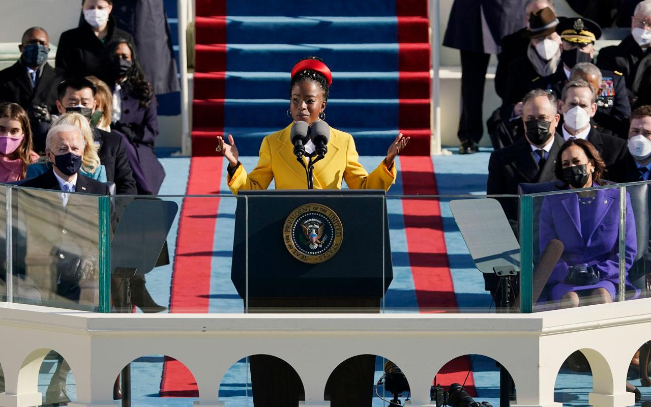 Youth poet laureate Amanda Gorman speaks at the 2021 inauguration of U.S. President Joe Biden and Vice President Kamala Harris on the West Front of the U.S. Capitol in Washington, DC.