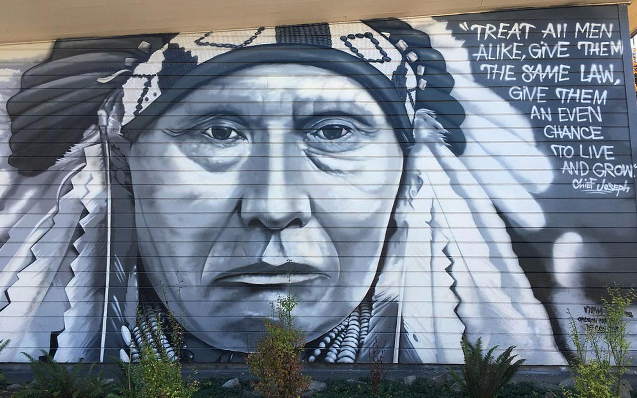A mural of Chief Joseph by Toma Villa, an enrolled member of the Yakama Indian Nation, located in Arbor Lodge Park in North Portland.