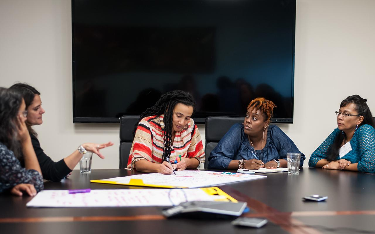 Five educators participate in a group activity during Meyer's 2018 Teachers of Color Gathering at Northwest Health Foundation.