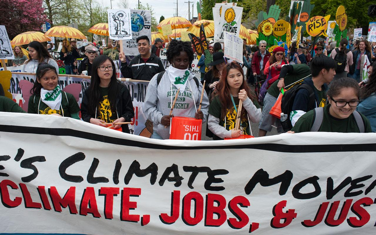 Organizers at the 2017 People's March for Climate, Jobs & Justice in Portland.