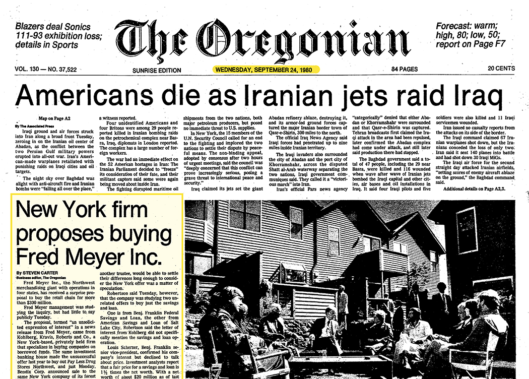 Picture of old newspaper headline about sale of Fred Meyer stored